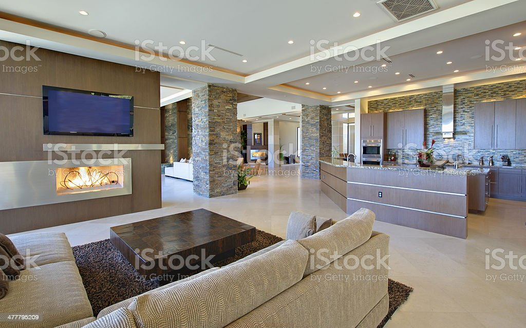 Living Room With Open Kitchen stock photo