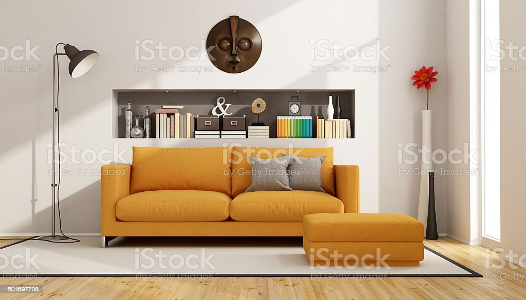 Living room with orange sofa stock photo
