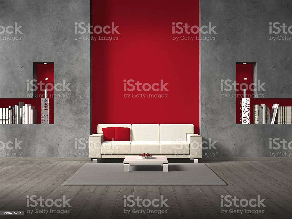 living room with red wall behind the sofa stock photo