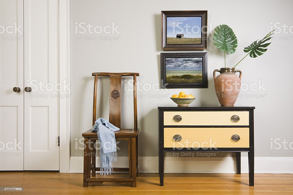 Living Room with Side Table in Home Room Interior Design stock photo