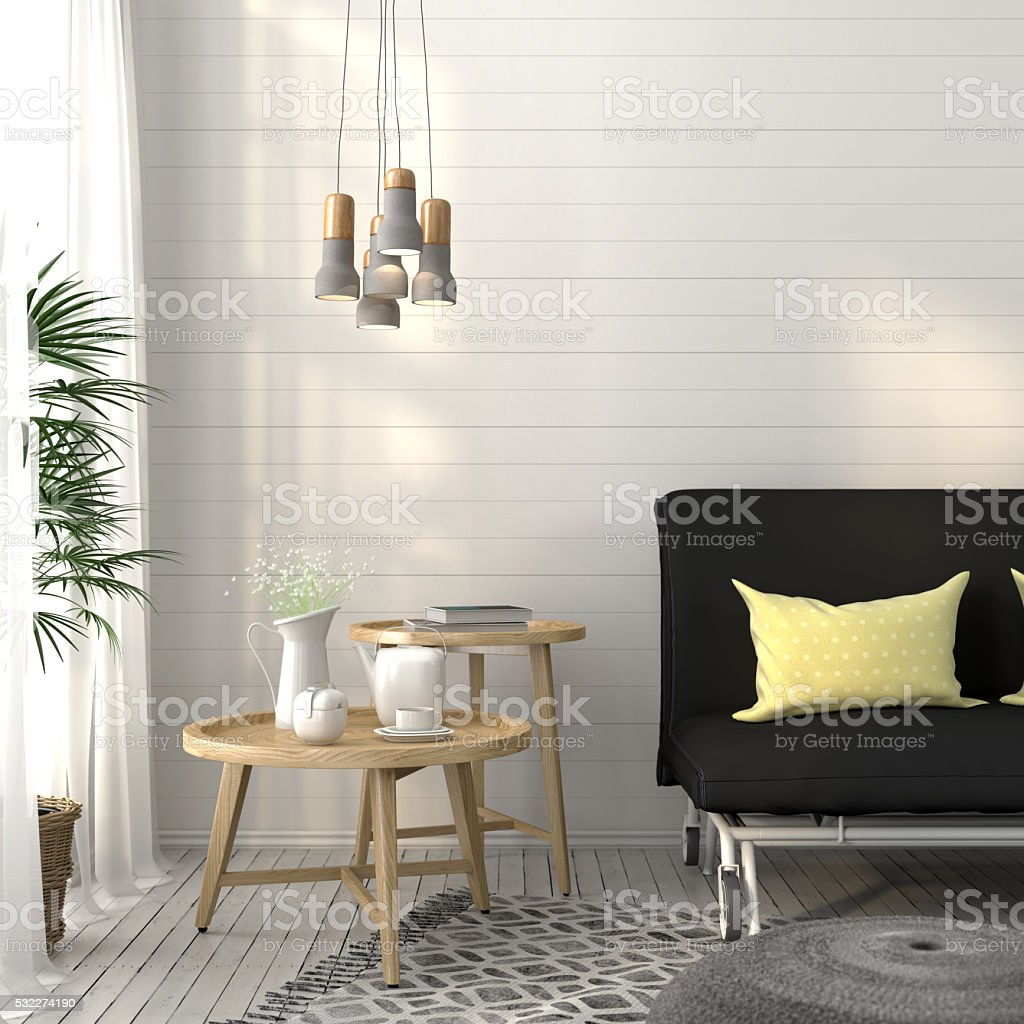 Living room with sofa and concrete chandelier stock photo