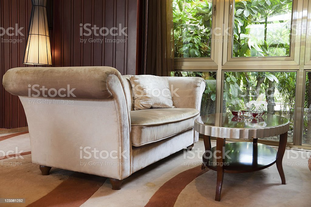 Living room with sofa and table stock photo