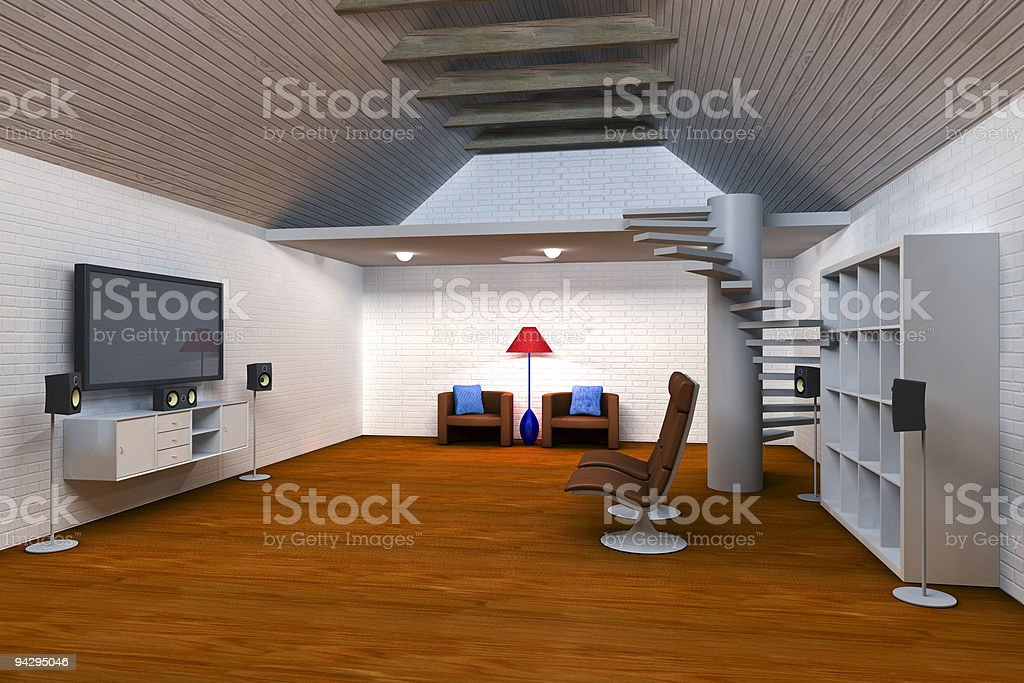 Living room with sourround sound royalty-free stock photo