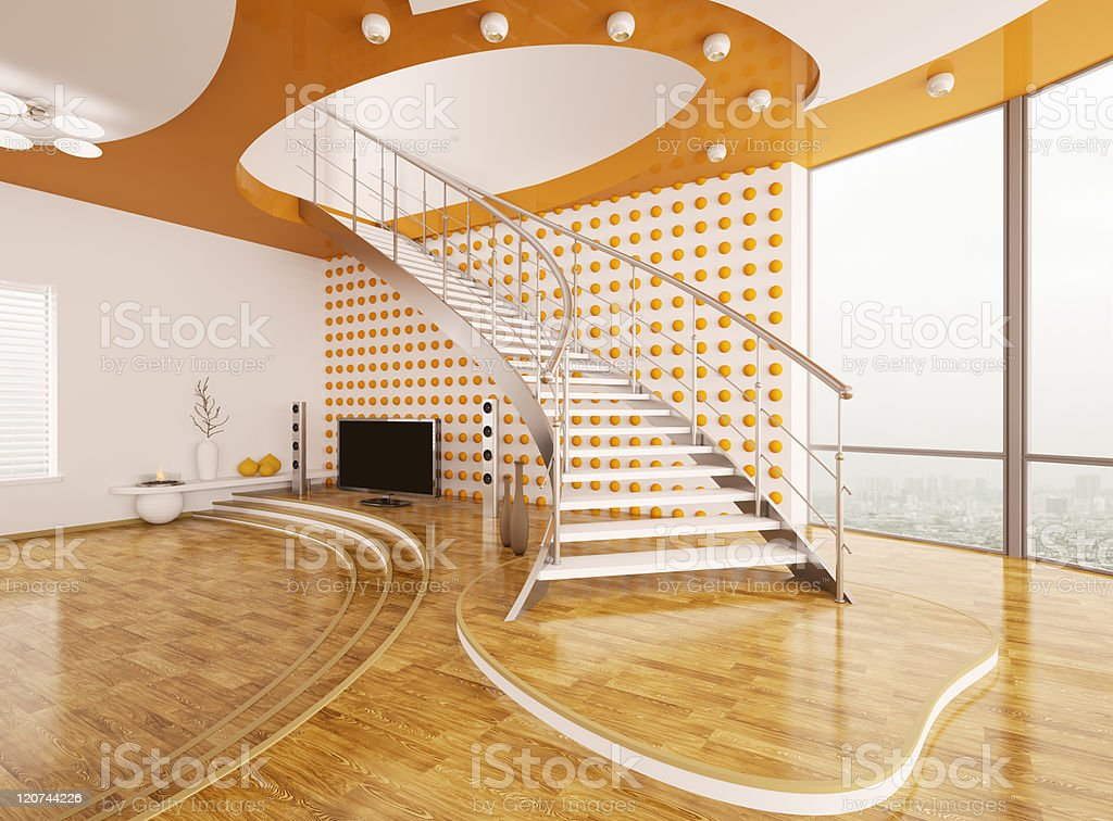 Living room with staircase interior design 3d render royalty-free stock photo