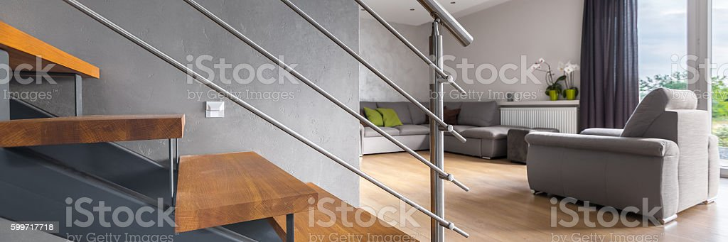 Living room with staircase stock photo