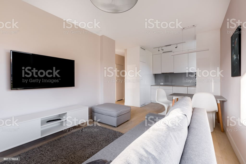 Living room with television stock photo