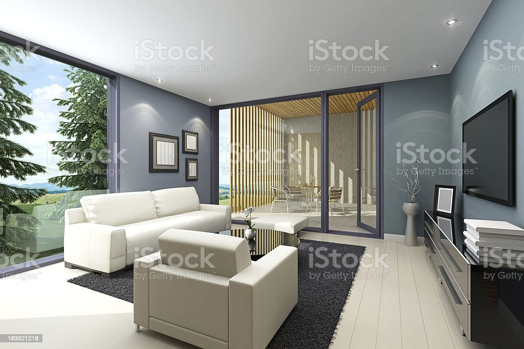 Living Room with Terrace royalty-free stock photo