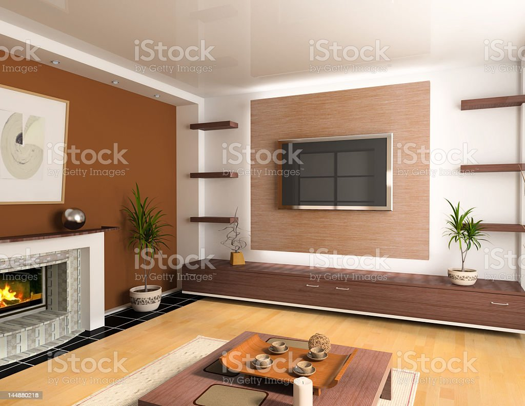 Living room with the mounted flatscreen TV and a fireplace royalty-free stock photo