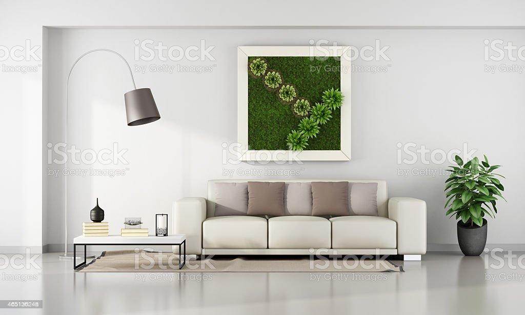 Living room with  vertical garden in frame stock photo