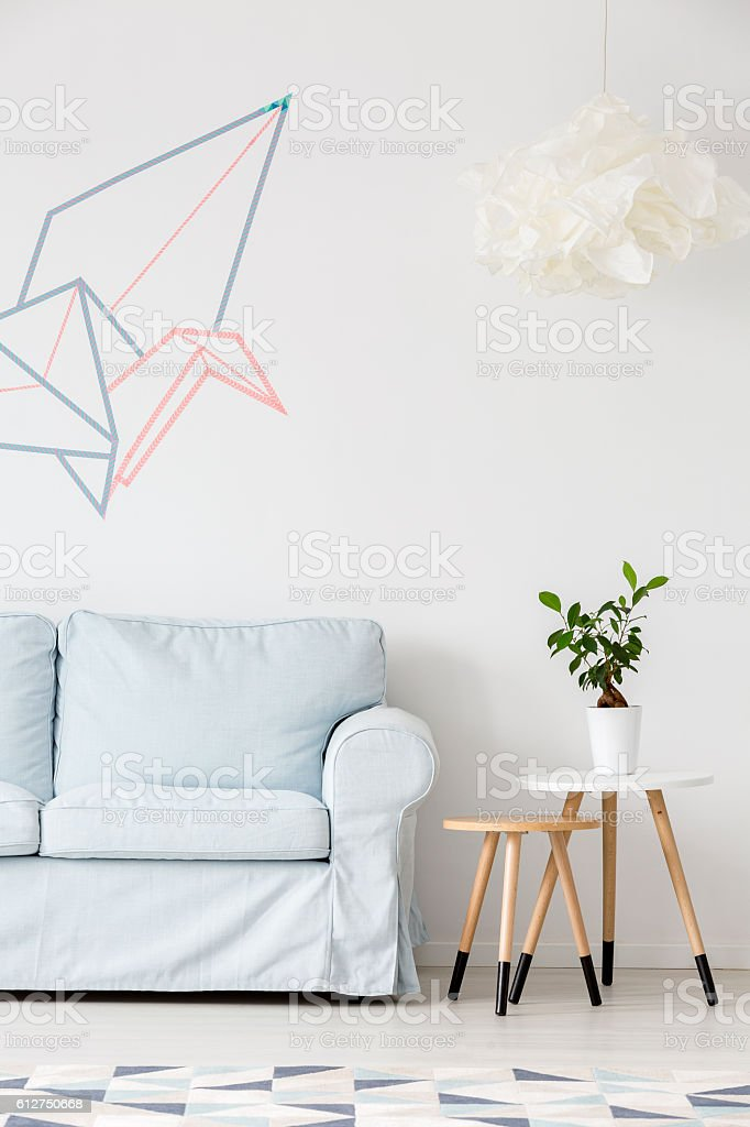Living room with washi tape decor idea stock photo