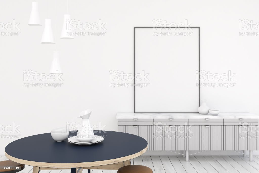 Living room interior with white walls, a cabinet with a vertical...