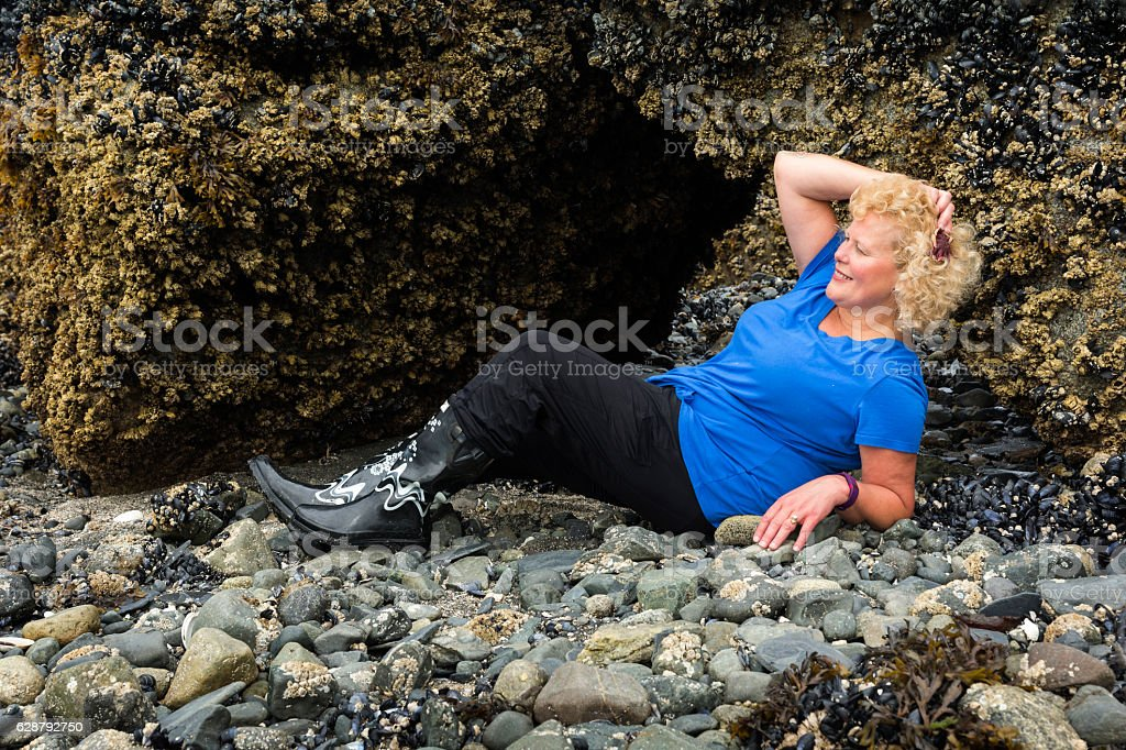 Living starfish as hair barrette stock photo