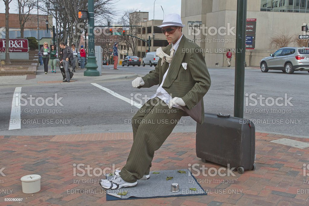 Living Statue Artist in Downtown Asheville stock photo