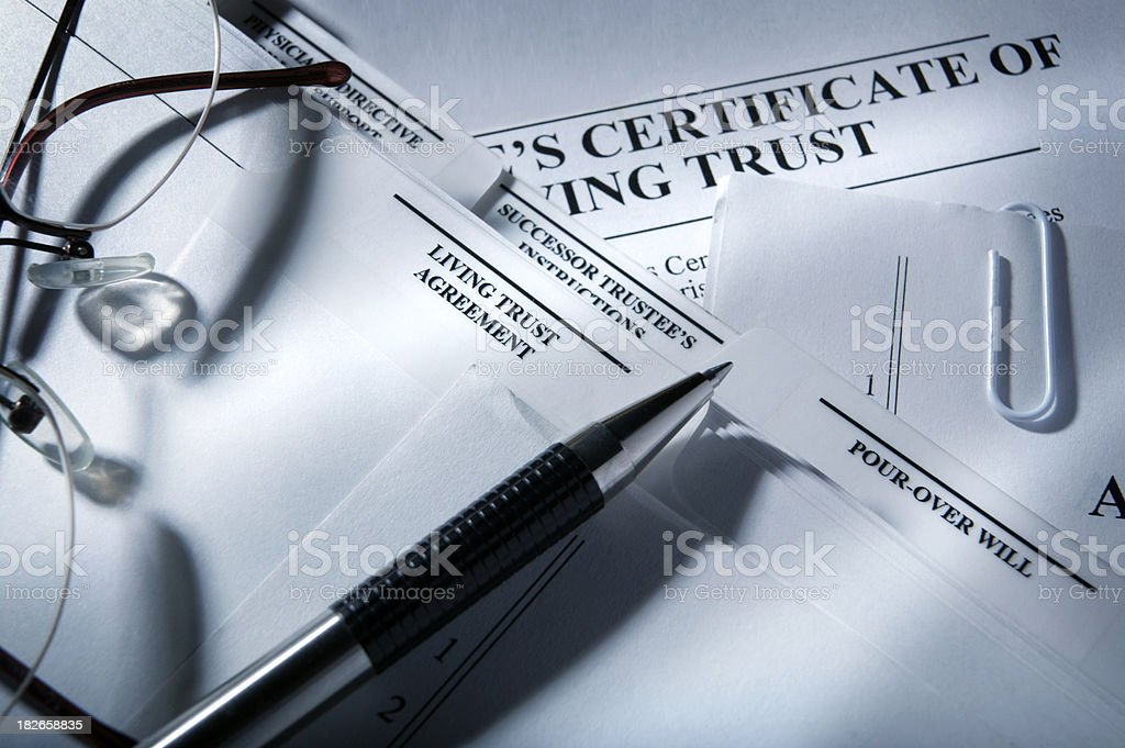 Living Trust Documents stock photo