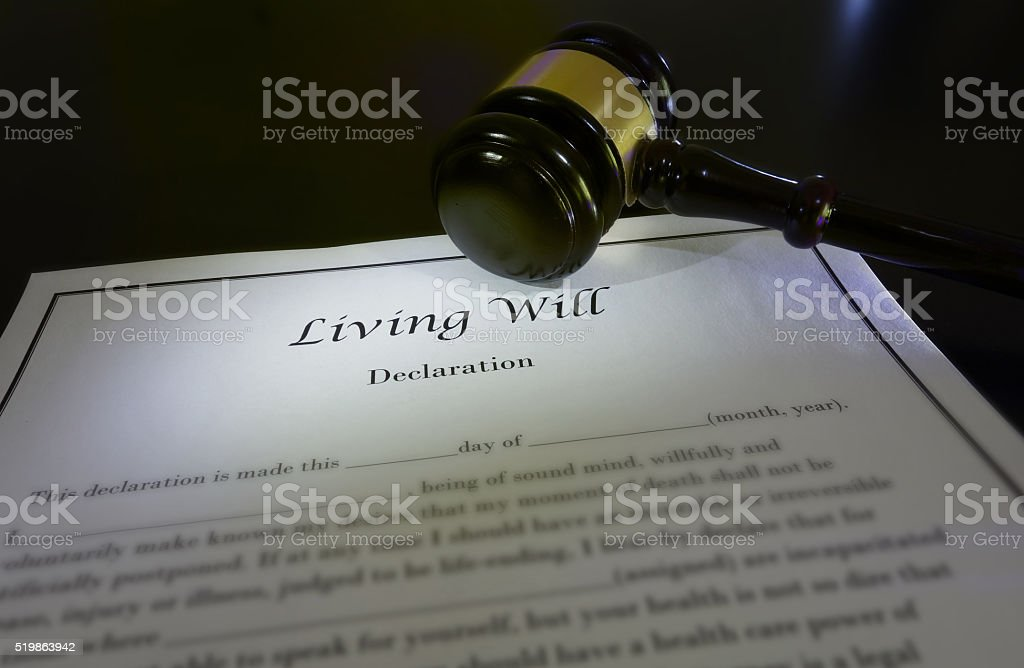 Living Will and gavel stock photo