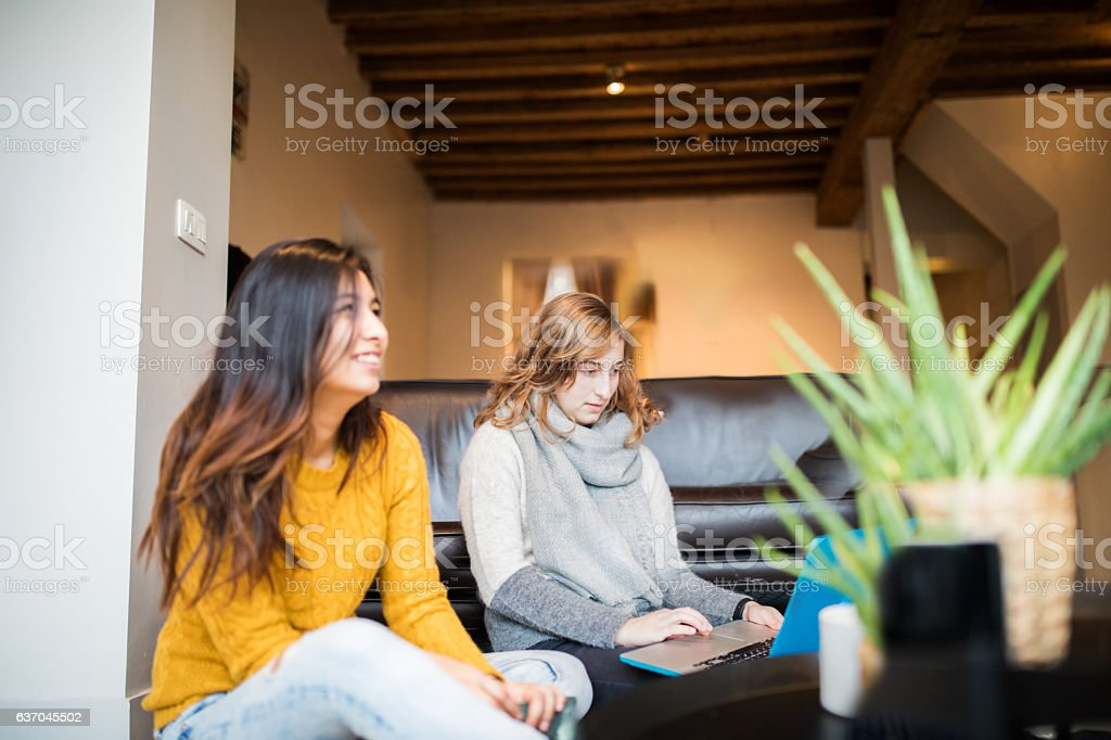 Living with a roommates stock photo