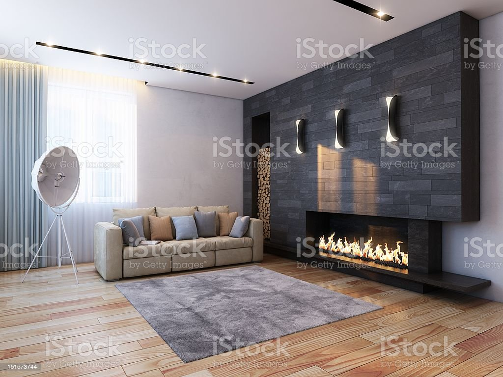 livingroom with fireplace stock photo