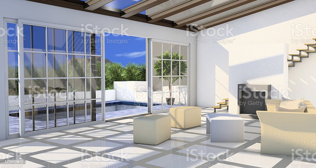 Living-room with terrace and plunge pool stock photo