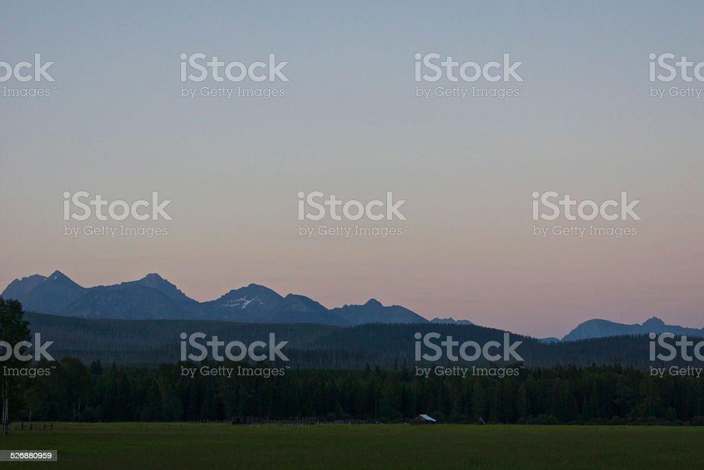 Livingston Range Dusk stock photo