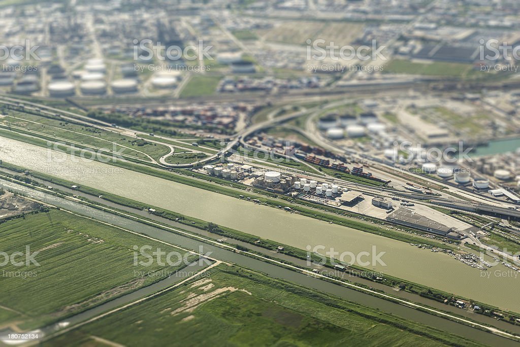 Livorno refinery and silos aerial view royalty-free stock photo