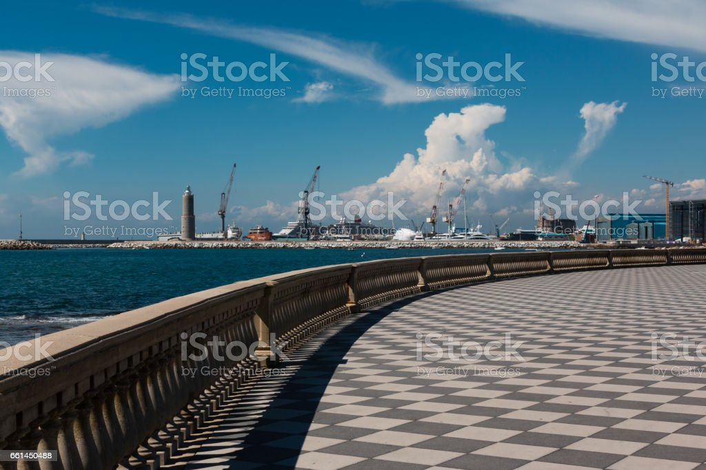 Livorno' s Mascagni Terrace, Shipyard and Cranes in Background, Tuscany - Italy stock photo