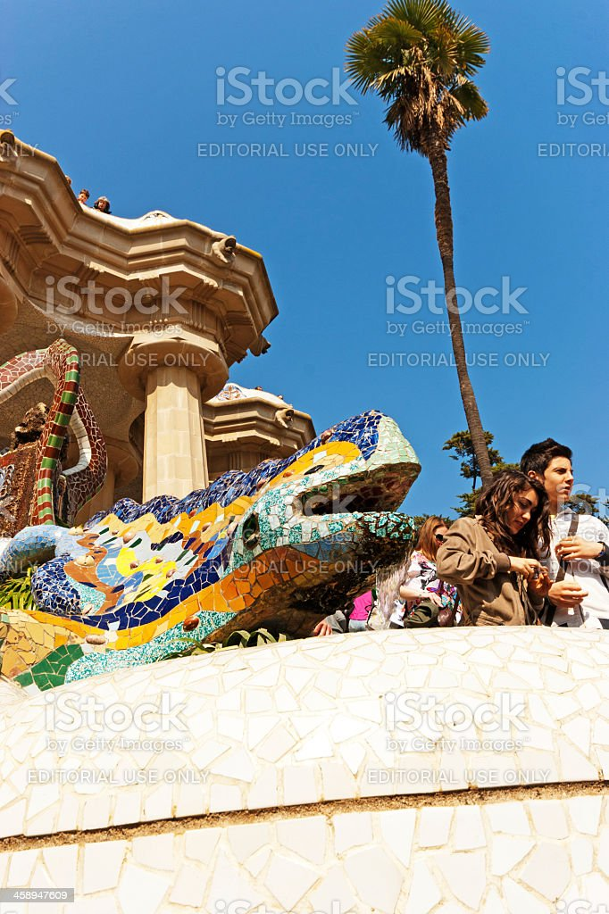 Lizard entrance fountain Parc guell royalty-free stock photo