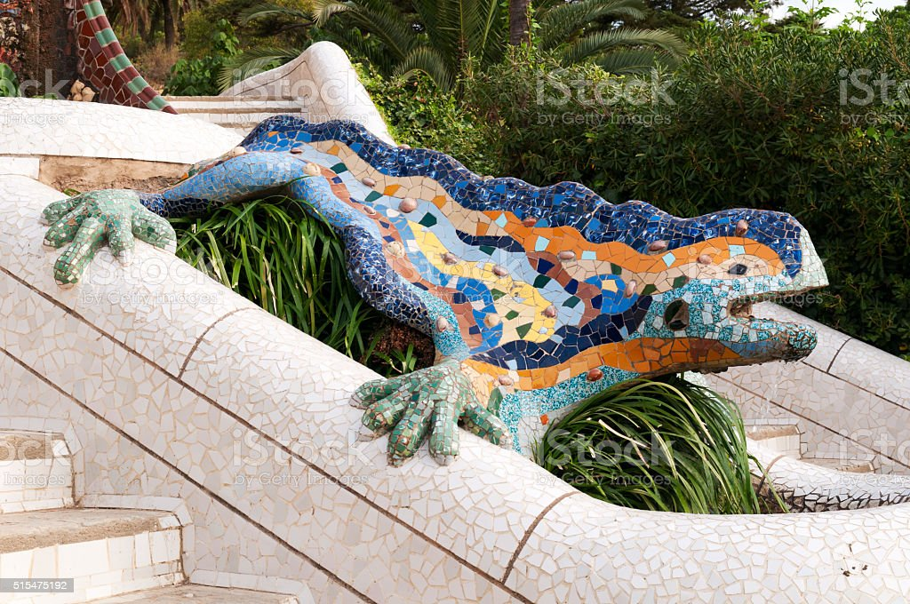 Lizard Fountain at Park Guell. stock photo