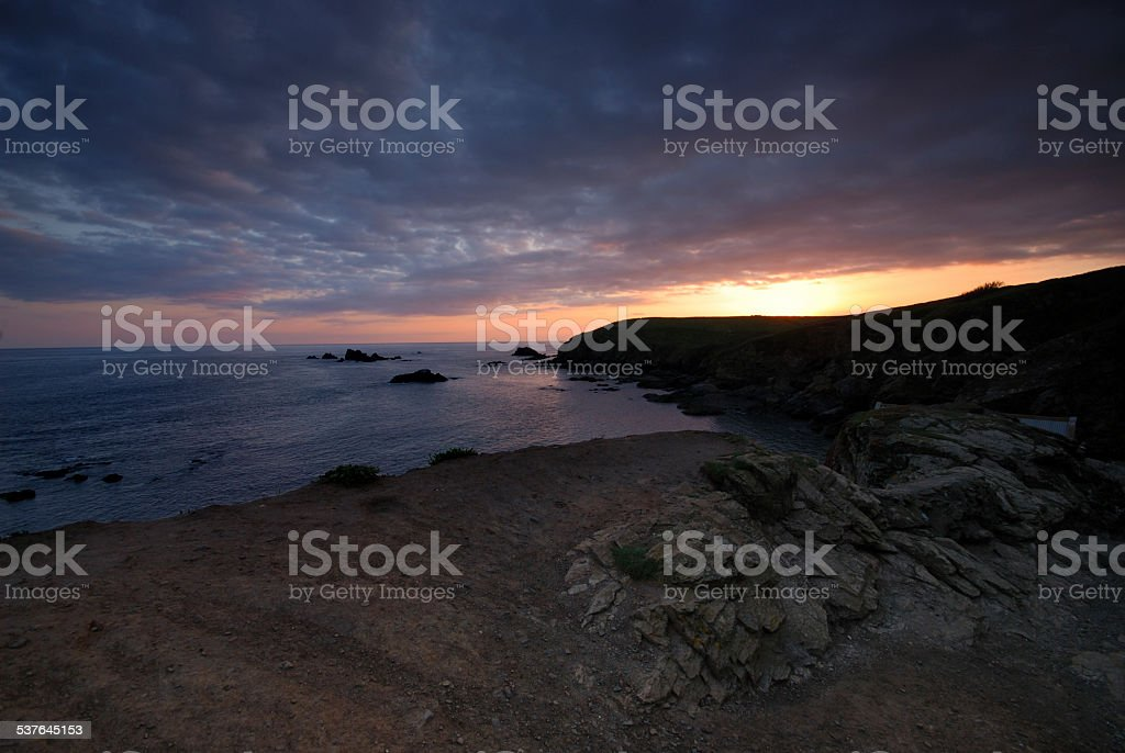 Lizard Peninsula Sunset stock photo