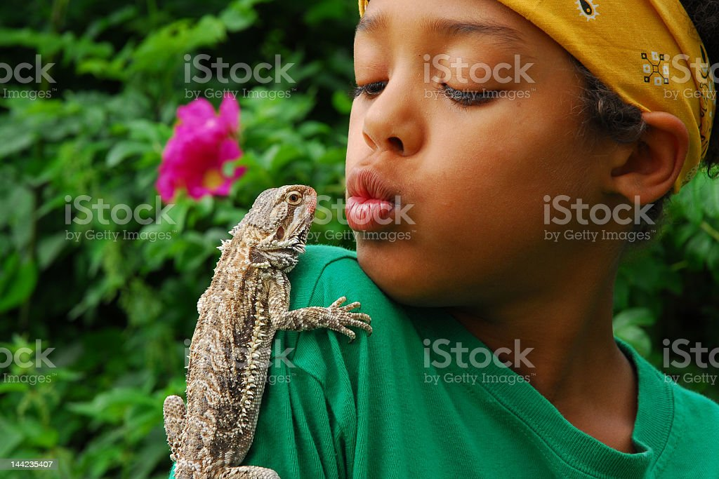 Lizard perched on boy's shoulder in tropical garden stock photo