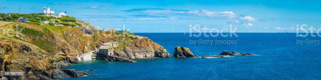Lizard Point southernmost point in Britain blue ocean panorama Cornwall stock photo