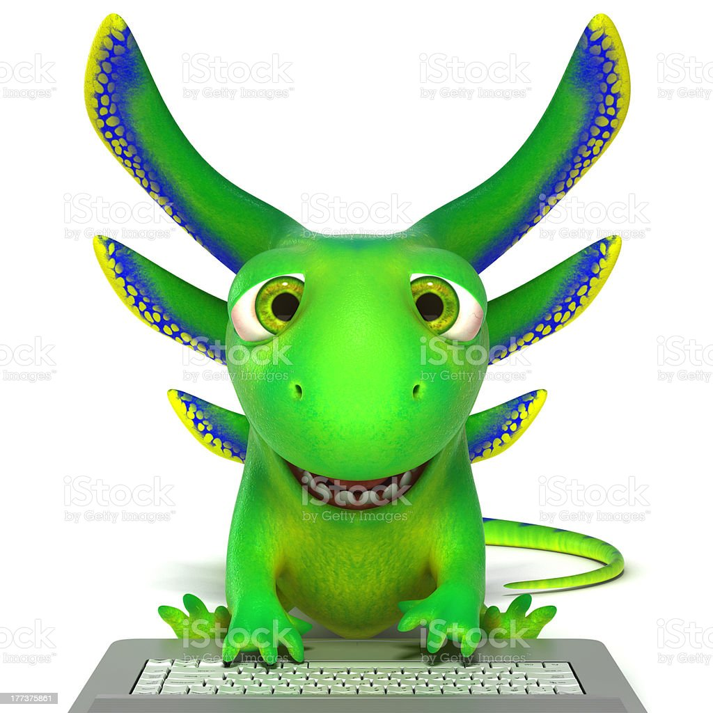Lizard using a laptop royalty-free stock photo