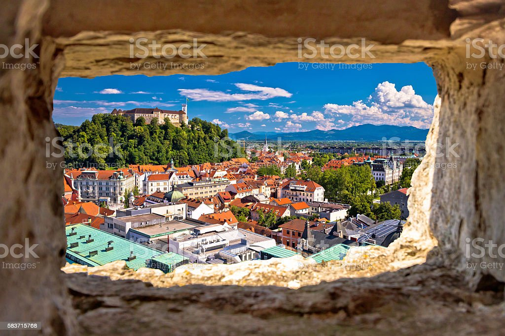 Ljubljana aerial view through stone window stock photo