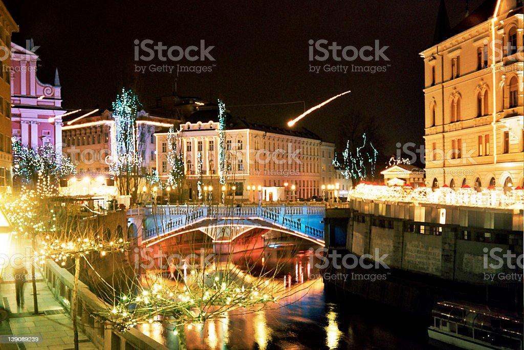 Ljubljana by night stock photo