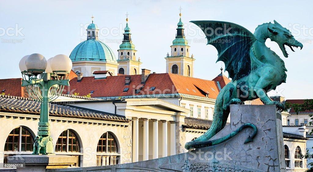Ljubljana Dragon stock photo