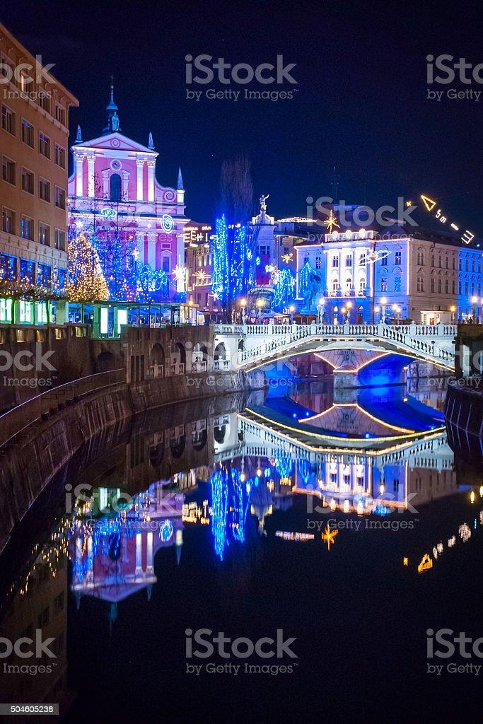 Ljubljana in Chirstmas decoration stock photo