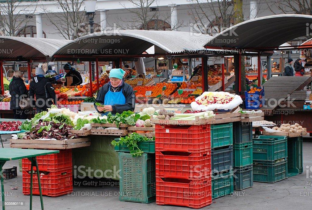 Ljubljana Market in December stock photo