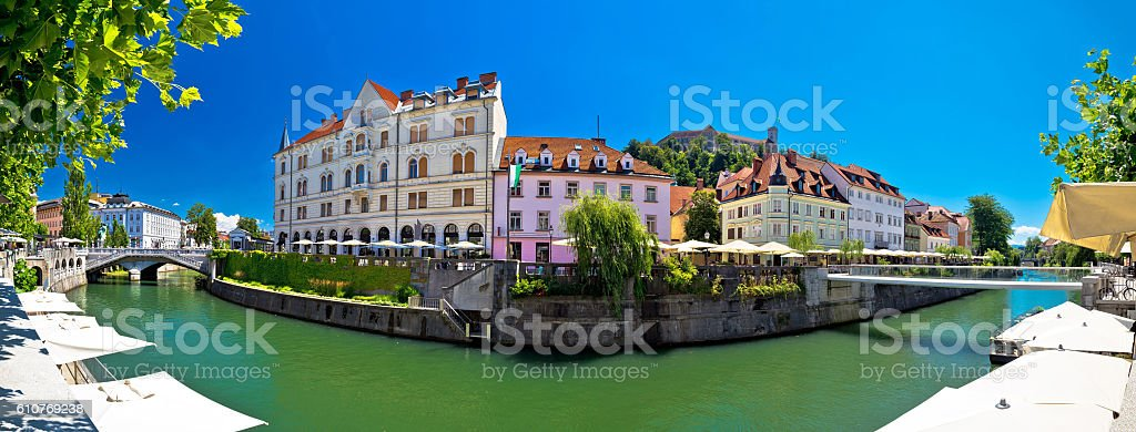 Ljubljana on green Ljubljanica river panorama stock photo