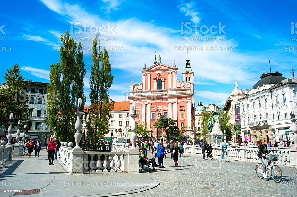 Ljubljana Preseren Square stock photo
