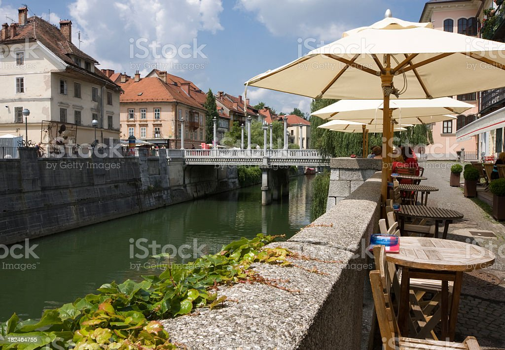 Ljubljana River in Slovenia stock photo