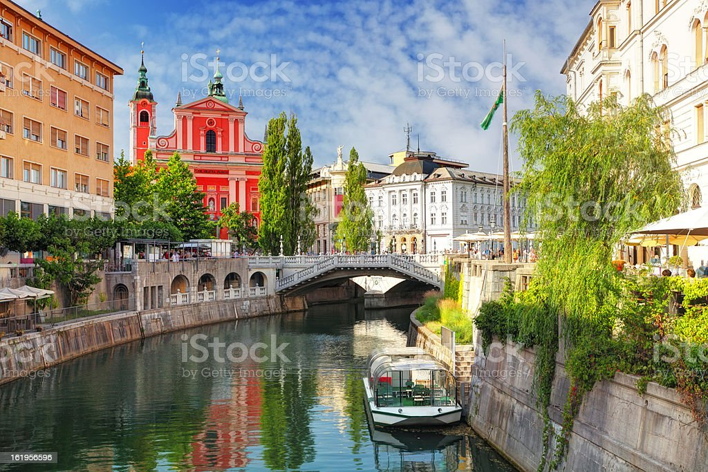 Ljubljana - Slovenia (Church and river Ljubljanica) stock photo