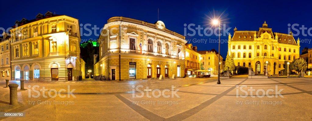 Ljubljana square and landmarks evening panoramic view, capital of Slovenia stock photo