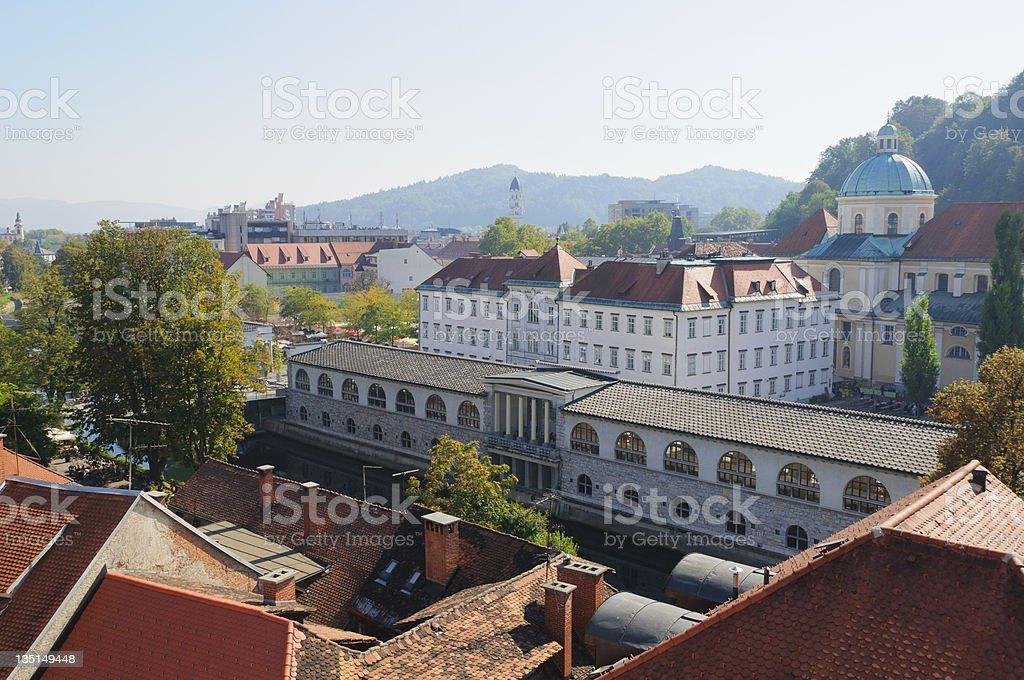 Ljubljana towards market place stock photo
