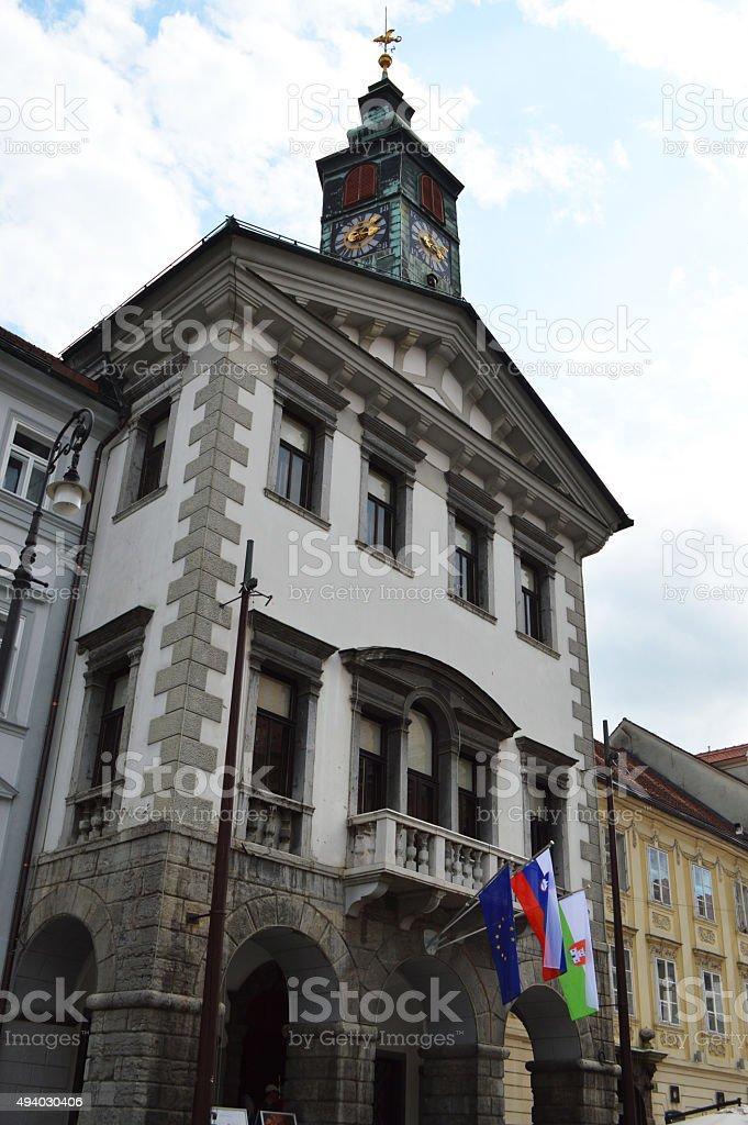 Liubliana Ayuntamiento en Eslovenia foto de stock libre de derechos