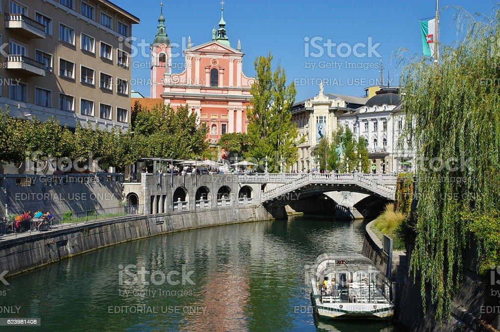 Ljubljana, Triple Bridge stock photo