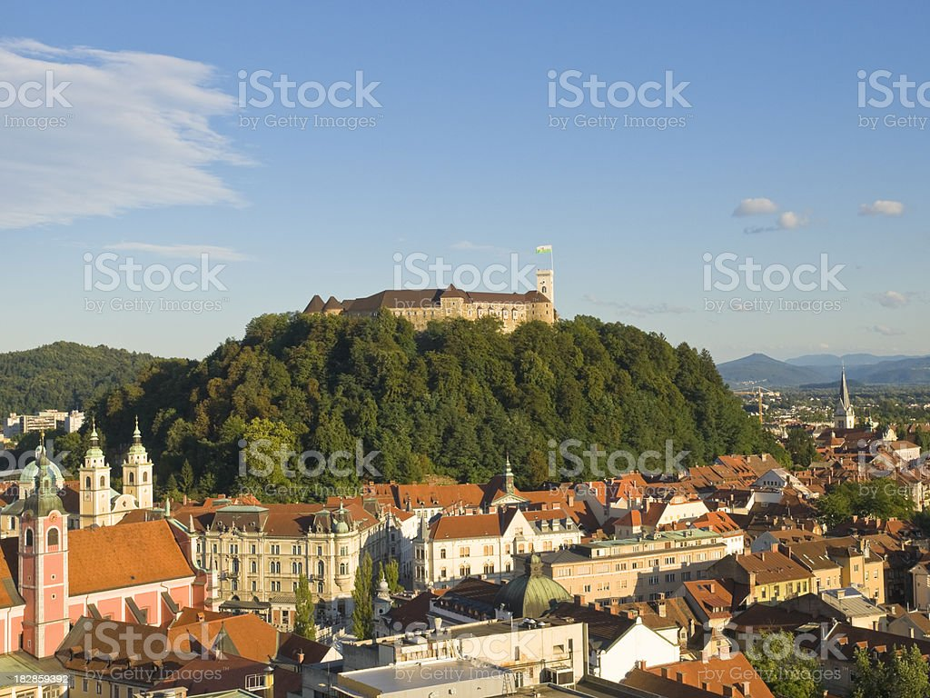 LJubljana with castle royalty-free stock photo