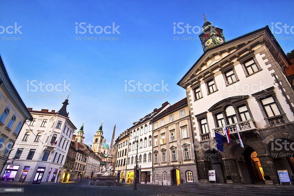 Ljubljana's city center, Slovenia, Europe. stock photo