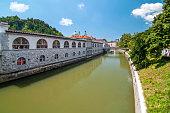 Ljubljanica river and covered market, Ljubljana, Slovenia