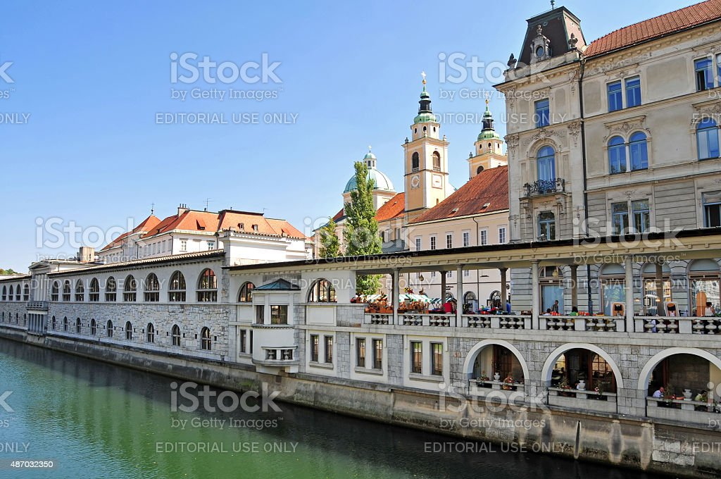 Ljubljanica river and St. Nicholas cathedral, Ljubljana, Slovenia stock photo