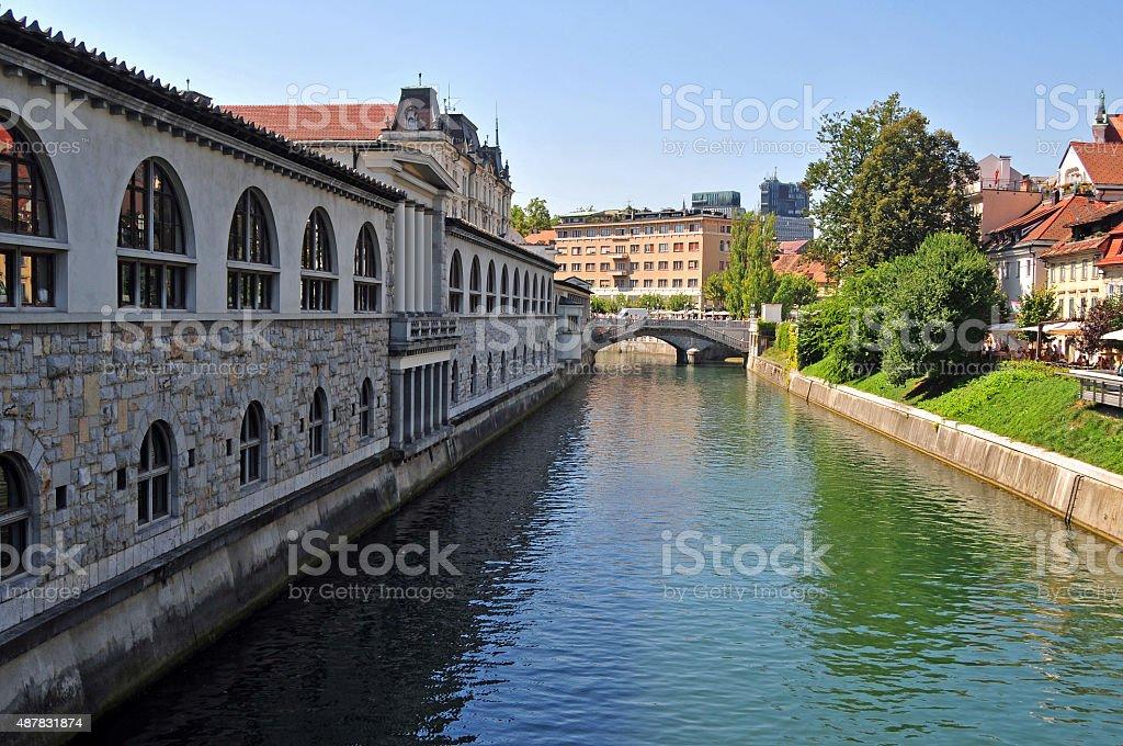 Ljubljanica river and Triple bridges in the background, Ljubljana, Slovenia stock photo
