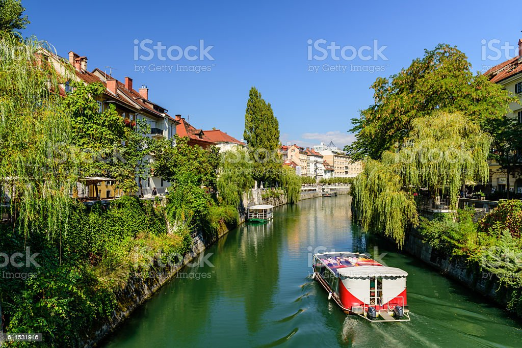 Ljubljanica river in Ljubljana stock photo